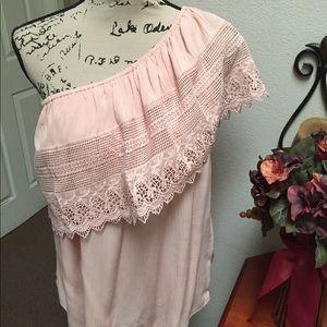One shoulder crochet blouse